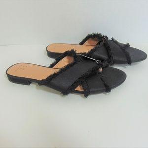 Sephorie Slides Sandals Criss Cross Black Frayed